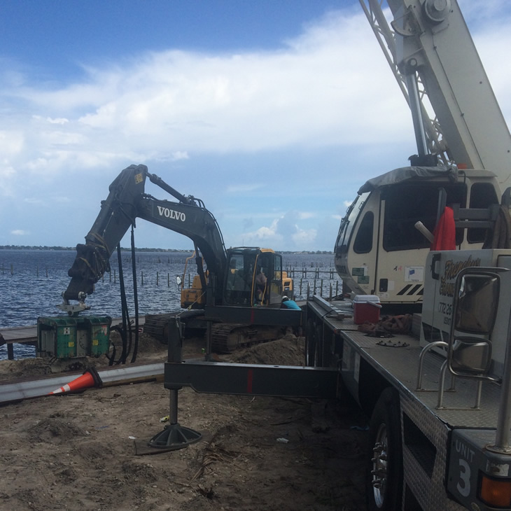Seawall Construction begins at Seminole Bluff